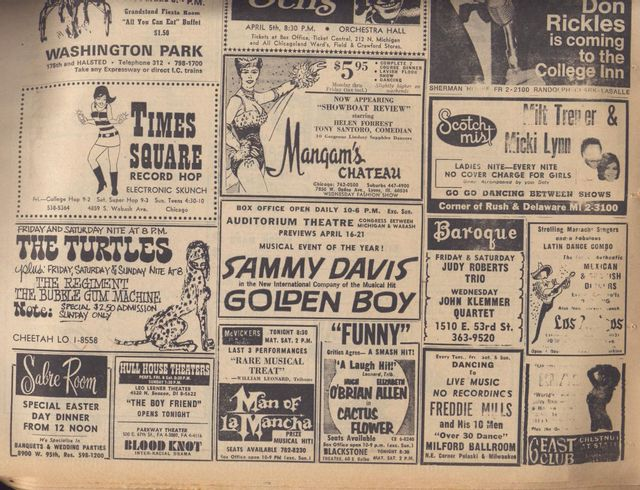 """04/05/68 Sun-Times ad featuring a stage version of """"Man Of La Mancha"""" at the McVickers."""