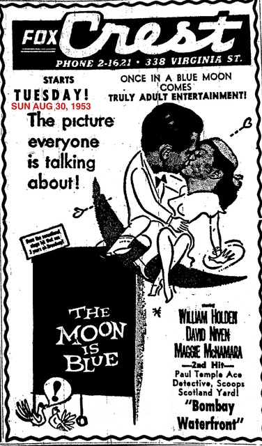 AD FOR THE MOON IS BLUE