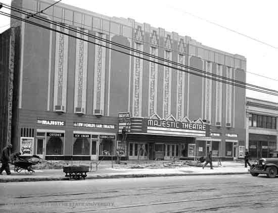 During the widening of Woodward and facade change. Wayne State University photo.