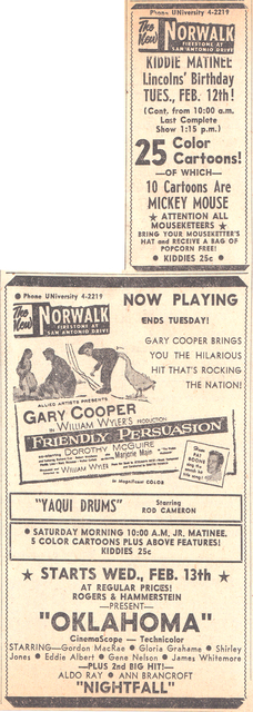 Norwalk Theatre, Norwalk California - 2 -7-1957
