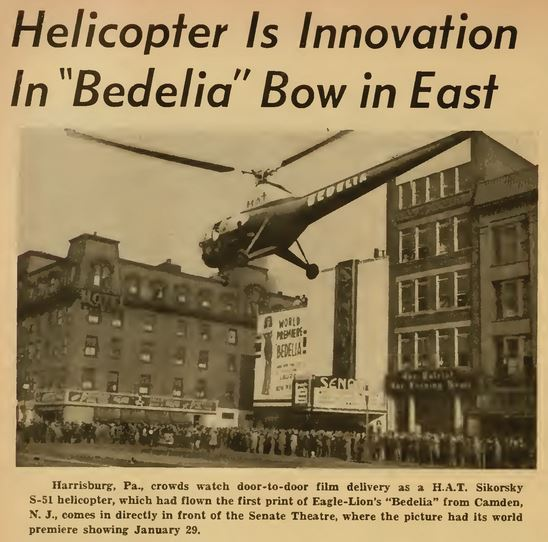 Helicopter delivery of a movie print in 1947