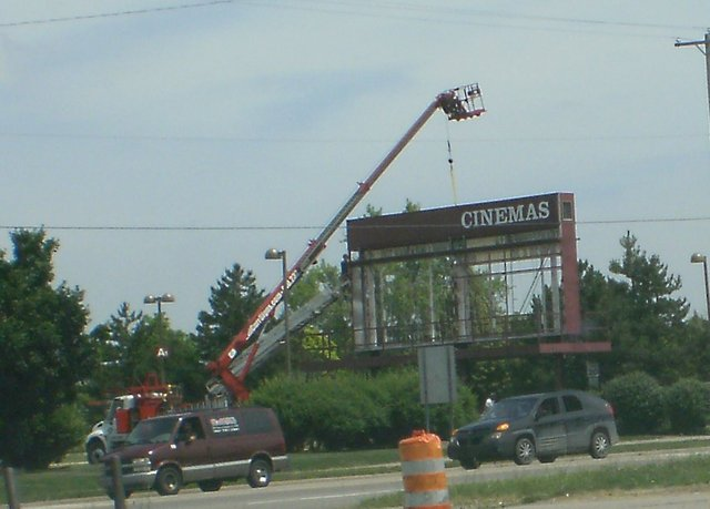 Old Showcase Cinemas attraction board comes down