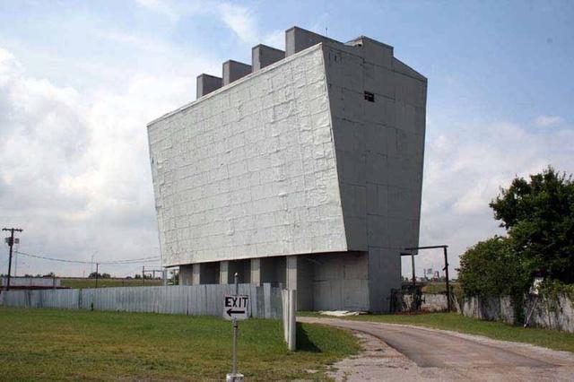 Admiral Twin Drive-In, Tulsa, OK.  Original Twin Screen B4 Screen Fire