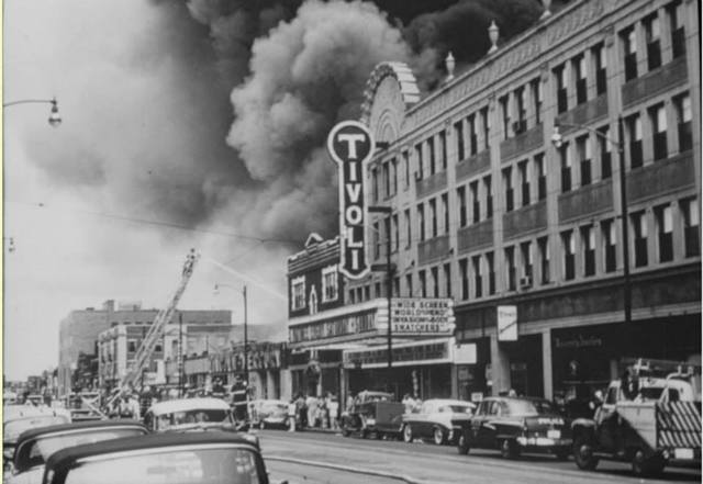 Fire at Stivers Lincoln-Mercury 1956 (University City Public Library photo))