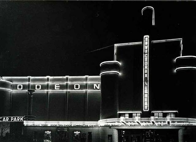 Odeon Cinema at Night circa 1937 - Woolwich