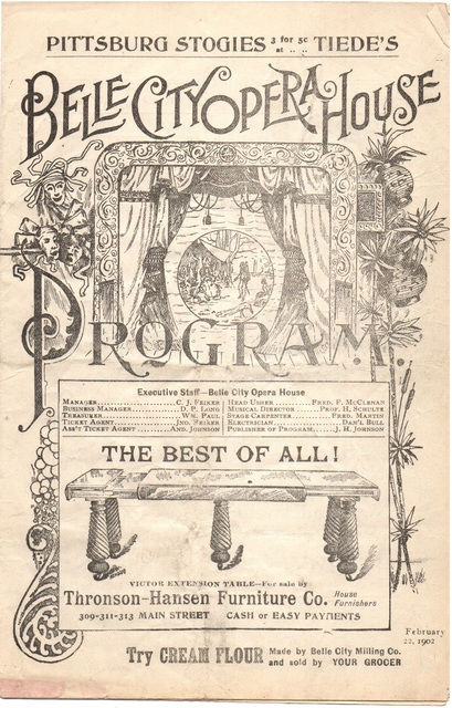1902 Belle City Opera House Program