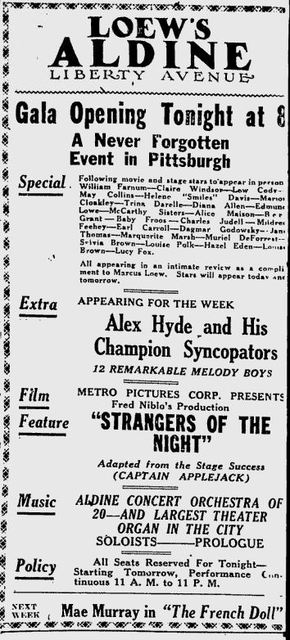 Grand opening ad as Aldine from September 17th, 1923