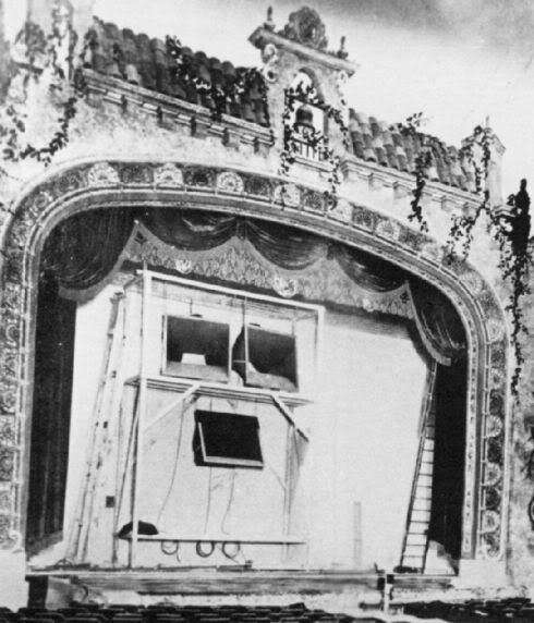 Midwest Theater, Oklahoma City, Early Photo of Stage Front Set-Up
