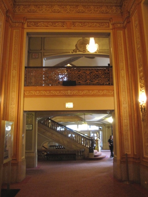 Chicago Theatre - View from main foyer to grand lobby stairs