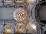 <p>Looking up at the chandelier in the grand lobby</p>