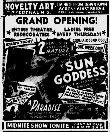 September 13th, 1963 reopening ad as a adult cinema.