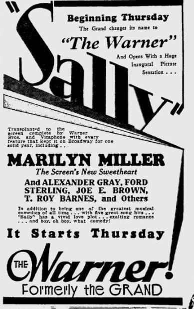 December 31st, 1929 grand opening as Warner