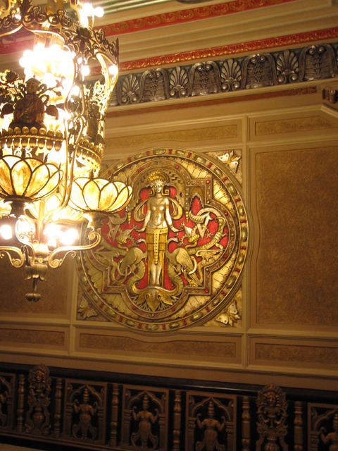 Oriental Theatre - Main Foyer chandelier and upper wall detail