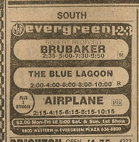 Evergreen Plaza theater ad from the Chicago Sun-Times July 17, 1980 newspaper.