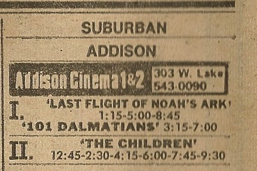 Addison Cinema 1 & 2 ad from the Chicago Sun-Times Thursday newspaper.