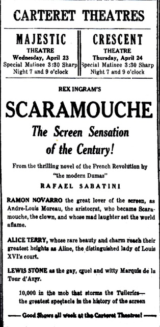 1924 ad for the Carteret Theatres