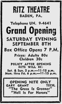 September 5th, 1962 grand opening ad