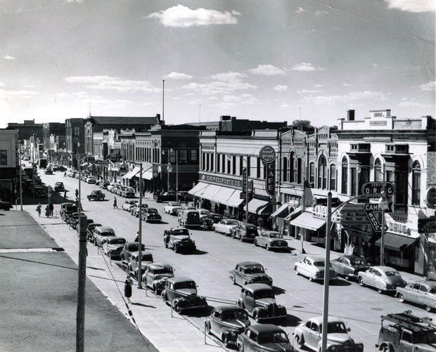Downtown bismarck with capitol theater seen, about 1952