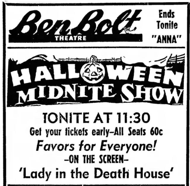 BEN BOLT HALLOWEEN 1953