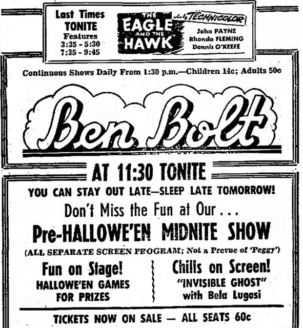 BEN BOLT HALLOWEEN 1950