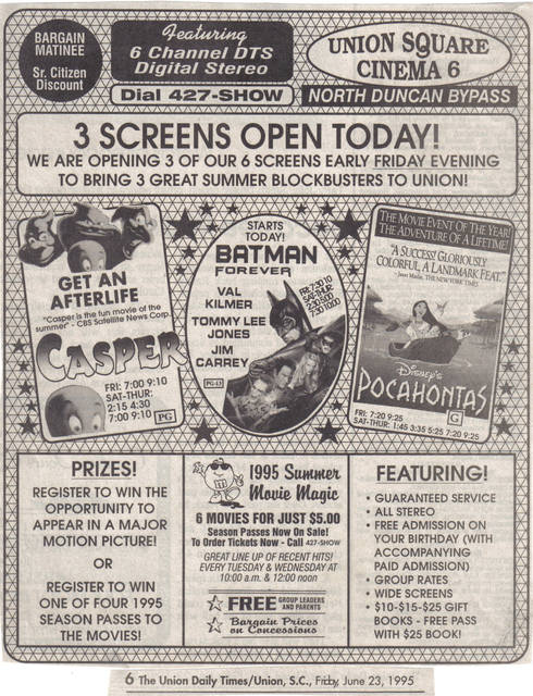 Union Square - Ad for Three-of-Six Screens opening in 1995