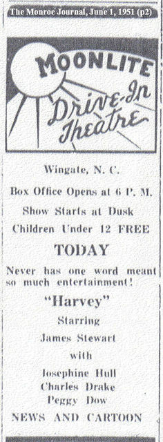 Partial Ad for Moonlite Drive-In, Wingate, NC - June 1951