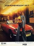 1973 MG print ad with photo taken in front of the Prince Charles Cinema.