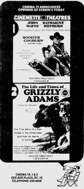 November 19th, 1975 grand opening ad as Cinema 19 twin