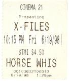 Ticket Stub. Cinema 21. X-Files. June 19, 1998