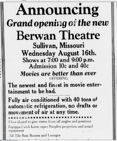 berwan theatre in sullivan mo cinema treasures