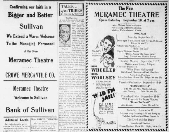 meramec theatre in sullivan mo cinema treasures