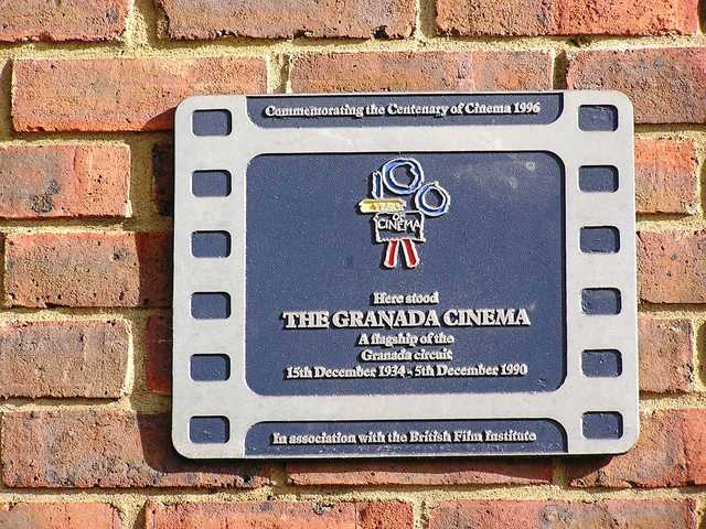 The plaque on the site of the Granada