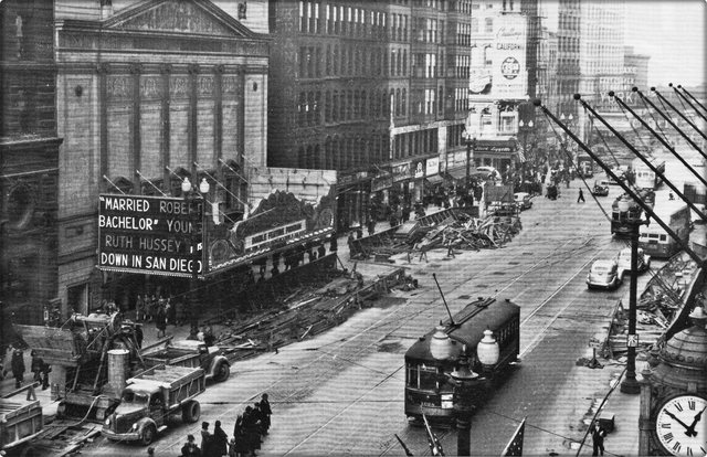 Subway construction in front of the Roosevelt, 1941. Image courtesy of Darla Zailskas.