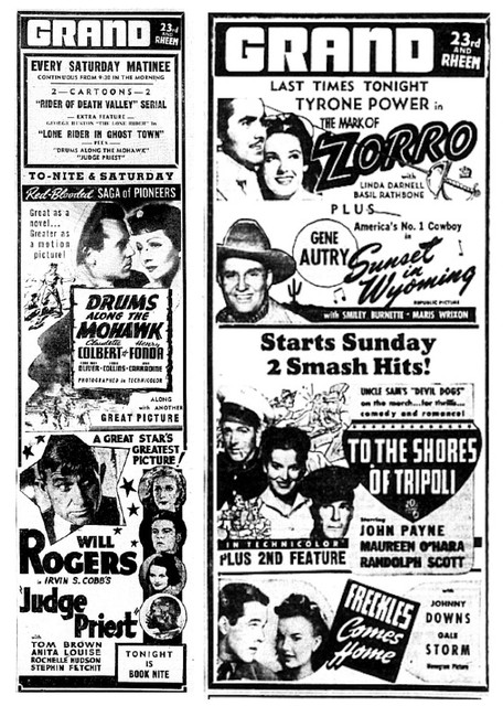 Grand Theatre Ads 1942 and 1944