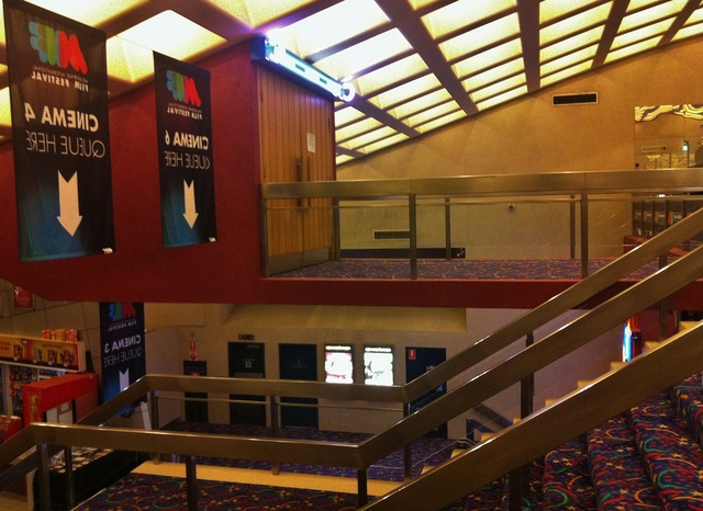 A view from the staircase of the cinema 6 enterance.