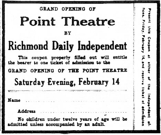 Opening Day of the Point Theatre 1913