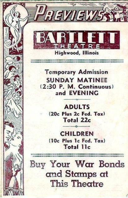 HIGHWOOD (BARTLETT) Theatre; Highwood, Illinois.