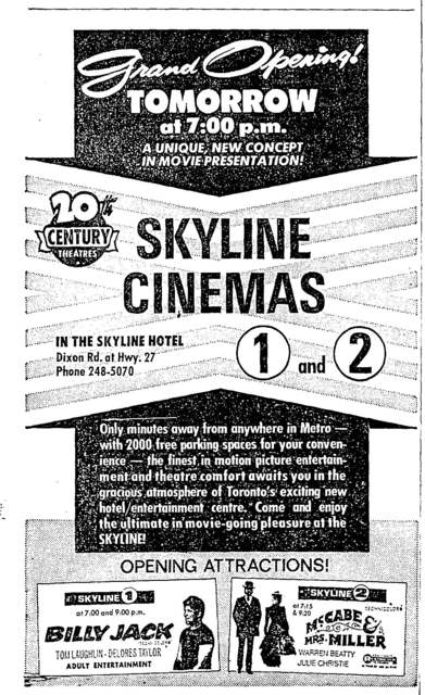 Ad Heralding Skyline Opening the Next Day (Oct 15 1971)