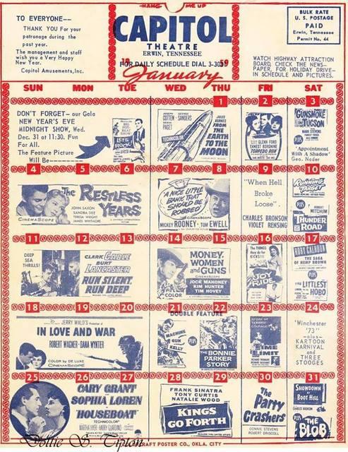 1959 daily schedule courtesy of Dottie S. Tipton.