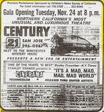 Century 21 grand opening newspaper advertisement, San Jose Mercury News, November 1964