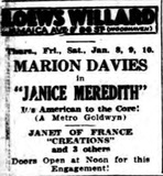 <p>Movie program at Loew's Willard starting Jan. 8th, 1925</p>
