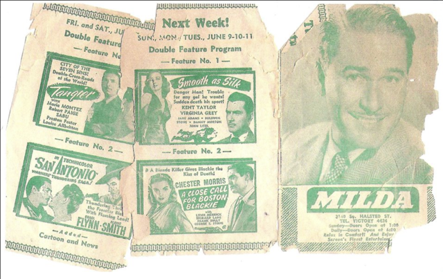Ad from 1946 showing upcoming movies at the Milda.