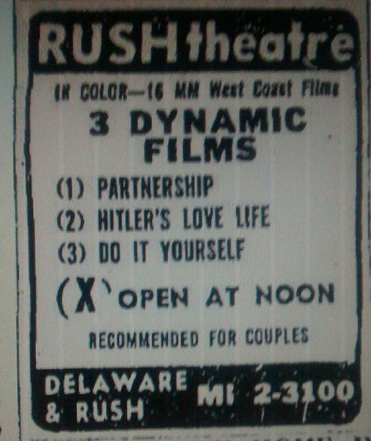 Rush Theatre newspaper ad courtesy of David Floodstrand.