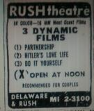 Rush Theatre newspaper ad courtesy of David Floodstrand.