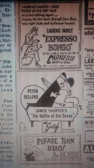November 1960 newspaper ad courtesy of David Floodstrand.