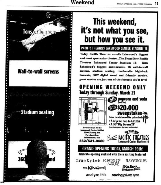 March 19th, 1999 grand opening ad