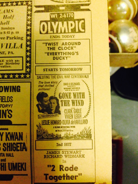 Movie advertisement from the Altoona Mirror; January 2nd, 1962