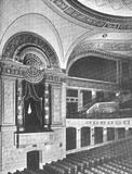 View of a box, the main floor, and the balcony of the Sheridan Theatre