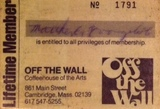 Off the Wall lifetime membership card