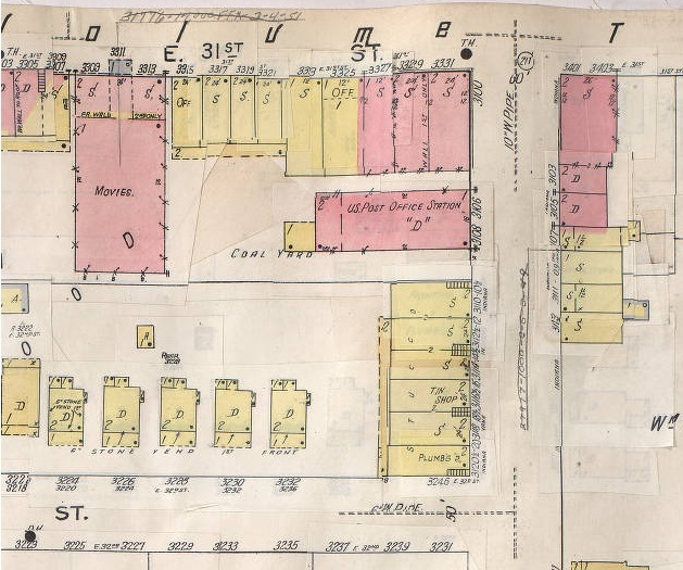 Sanborn Fire Insurance Map showing location of Central Theater at 3311 E. 31st Street, Kansas City, MO.